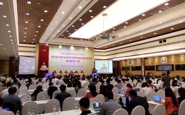 Toàn cảnh hội nghị toàn quốc triển khai công tác sắp xếp, đổi mới DNNN giai đoạn 2016-2020 đang diễn ra tại Hà Nội