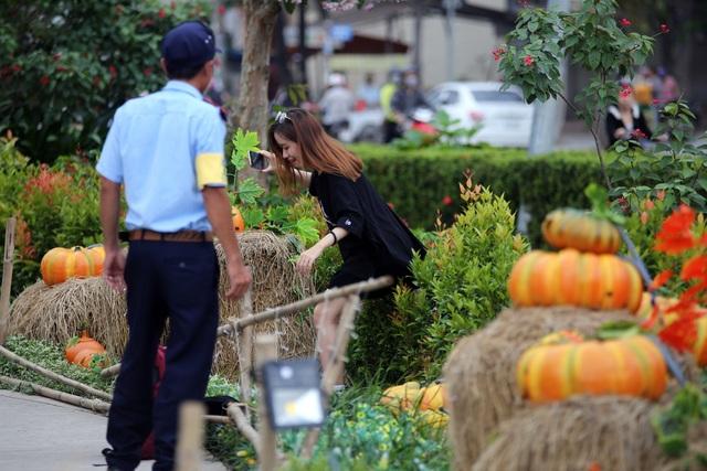 Một bạn trẻ leo vào bên trong vườn để chụp hình bị bảo vệ nhắc nhở.