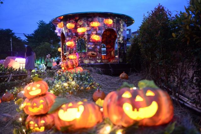 Khu vườn lung linh về đêm khi các quả bí ngô phát sáng khắp khu vườn.