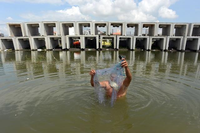 Mấy năm trước, kênh ở đây nhiều cá lắm, tui bắt được cả rổ cá lớn đem cho người dân sống quanh đây. Giờ công trình mọc lên nhiều nên cá cũng ít đi, mỗi bữa quăng lưới chỉ bắt được một vài con, đủ ăn qua bữa thôi. Ông Tời tâm sự.