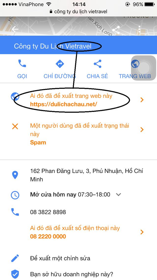 Thông tin trên Google maps của đơn vị Vietravel bị ai đó đã đề xuất dẫn về trang dulichachau.net.