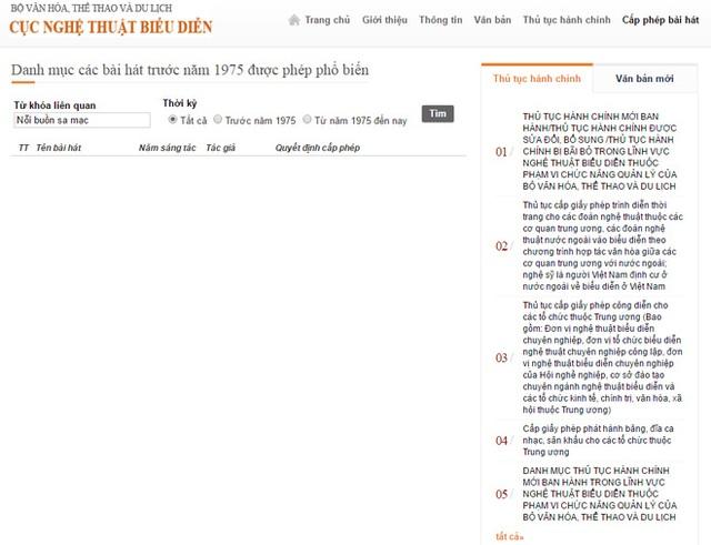 Trên cổng thông tin của Cục Nghệ thuật Biểu diễn, các ca khúc của Chế Linh vẫn chưa nằm trong danh mục những ca khúc được cấp phép phổ biến.