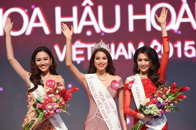 Top 3 ngôi vị cao nhất Hoa hậu Hoàn vũ Việt Nam 2015. Ảnh: TL.