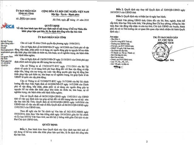 Quyết định về việc ban hành tạm thời các quy định về hỗ trợ cho nhân dân bị ảnh hưởng do lũ của UBND tỉnh Hà Tĩnh
