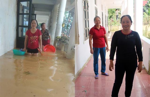 Hai cô giáo Hoàng Thị Loan (đứng trước), Lê Thị Trâm Oanh trong lũ (ảnh trái) và sau lũ.