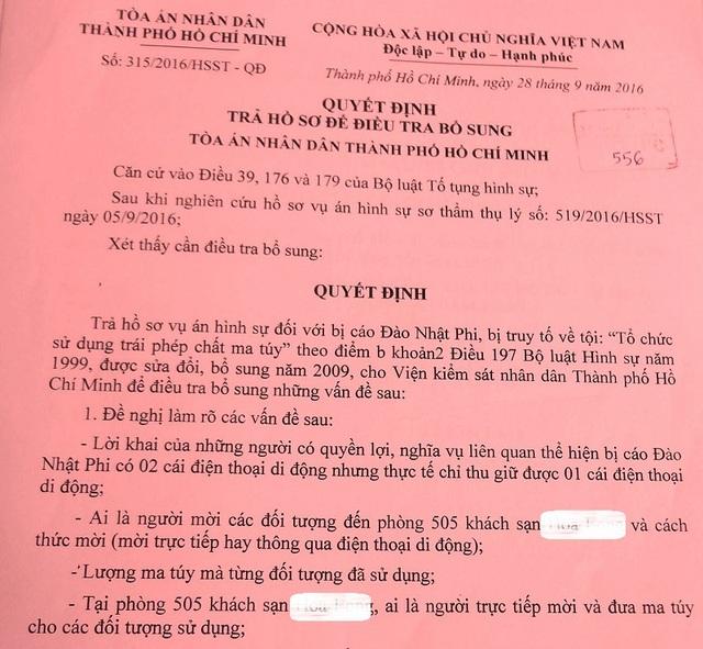 TAND TPHCM từng trả hồ sơ yêu cầu điều tra bổ sung