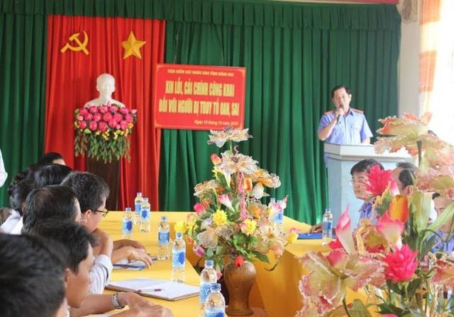 Đại diện VKSND tỉnh Đồng Nai nói lời xin lỗi đến nạn nhân bị truy tố oan
