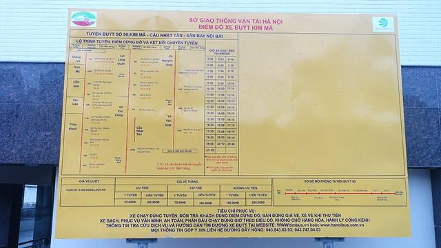 Hành trình xe chạy từ Kim Mã lên sân bay quốc tế Nội Bài và ngược lại được thông tin chi tiết ở mỗi đầu bến.