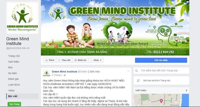 Trang mạng xã hội riêng của chi nhánh Green Mind ở Đà Nẵng có các hình ảnh, giới thiệu về khóa học kích hoạt não giữa
