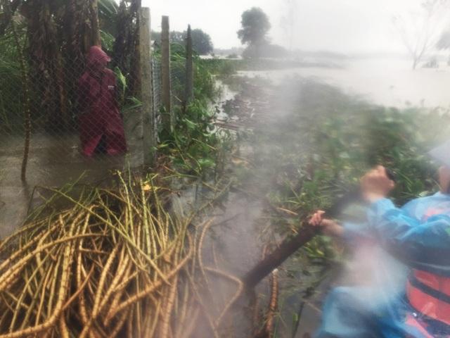 Công tác tiếp tế lương thực cho bà con vùng lũ gặp nhiều khó khăn do mưa to gió lớn trong chiều 15/12