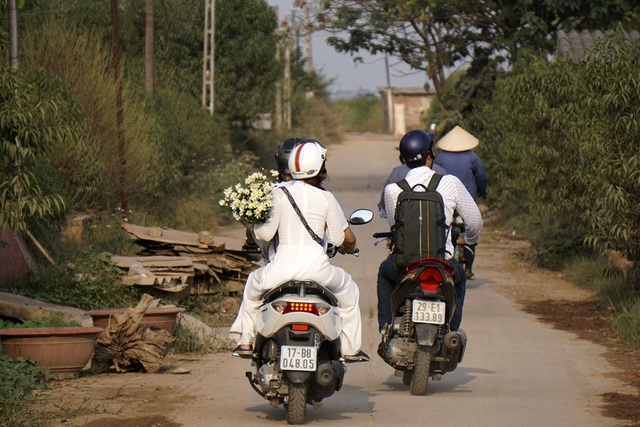 Thanh niên đến Nhật Tân mùa này vui chơi thường mua theo một bó hoa cúc họa mi để chụp ảnh.