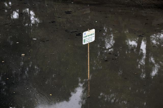 Mặt nước đen đục với nhiều váng bẩn trôi nổi, có khá nhiều tấm biển của Xí nghiệp Thoát nước số 3 kêu gọi người dân vì môi trường không vứt rác xuống lòng sông.