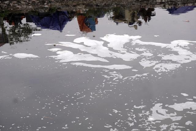 Mặt nước váng bọt bốc mùi nặng nề như một dòng nước độc.