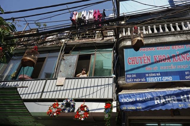 Những vòng nguyệt quế trang trí Giáng sinh tại khu phố cổ Hà Nội.