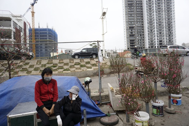 Chợ hoa Quảng An đã bắt có người bán những cành đào nở sớm.