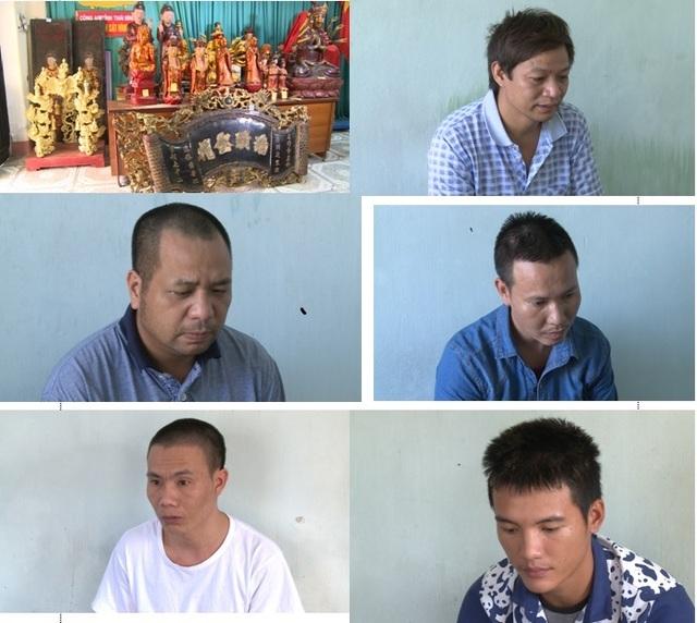 Tang vật vụ án và các đối tượng bị bắt giữ (ảnh: Công an Thái Bình)