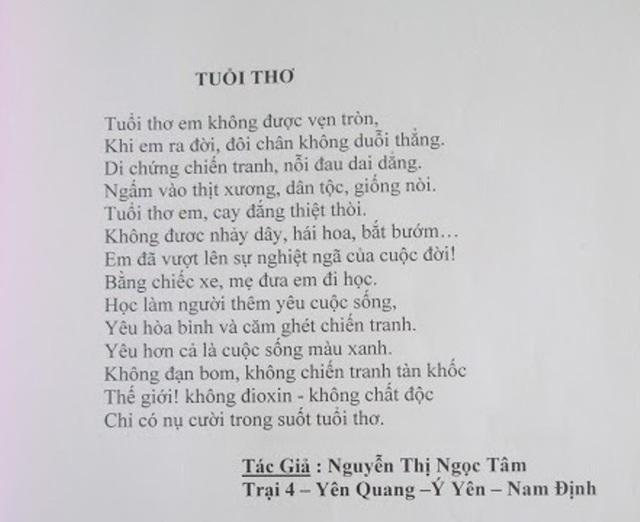 Bài thơ Tuổi thơ do Nguyễn Thị Ngọc Tâm sáng tác