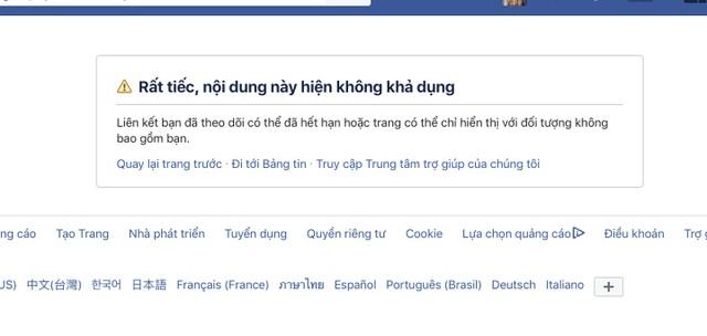 Trang Facebook của Trung tâm thần đồng Trí tuệ Việt đã khoá
