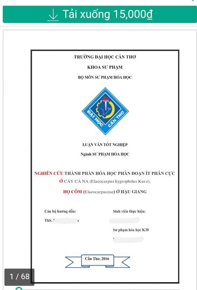 Một luận văn của sinh viên khoá 38 được rao bán trên trang web mua bán tài liệu online