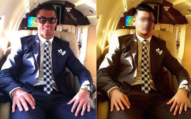 Bức ảnh gốc của CR7 (bên trái) được P.Đ.T mượn và bức ảnh T. đăng lên mạng để sống ảo (bên phải)