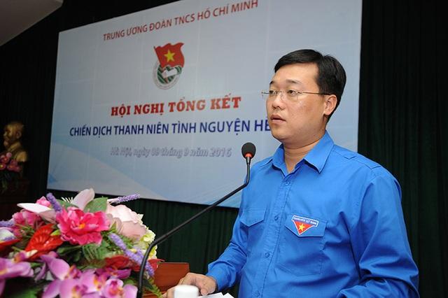Anh Lê Quốc Phong - Bí thư thứ nhất T.Ư Đoàn phát biểu tổng kết Chiến dịch TNTN Hè 2016.