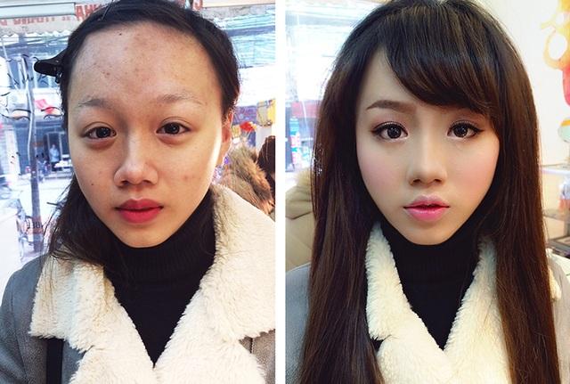 Bề ngoài của cô gái này có sự thay đổi lớn sau khi trang điểm.