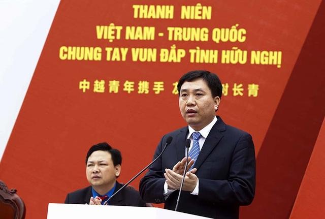 Bí thư Trung ương Đoàn TNCS Hồ Chí Minh Nguyễn Mạnh Dũng phát biểu tại Lễ khởi động Liên hoan thanh niên Việt - Trung