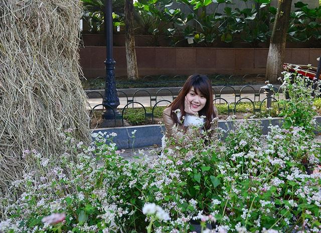 Những cô gái trẻ xinh xắn chụp hình lưu niệm với hoa tam giác mạch