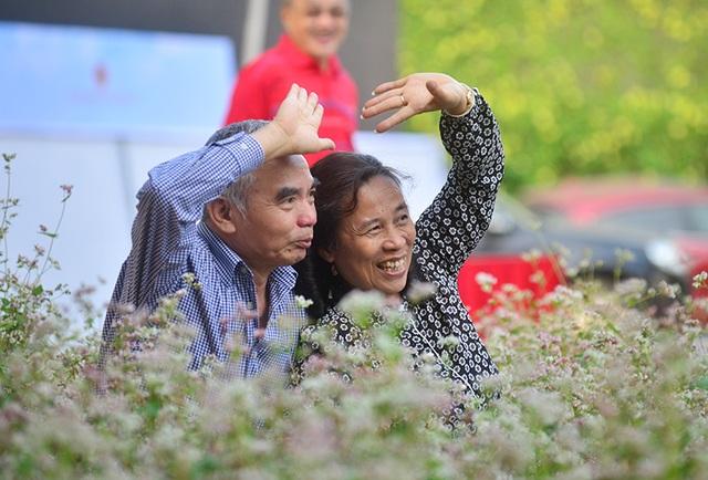 Một cặp đôi lớn tuổi cũng tranh thủ chụp hình với hoa tam giác mạch.