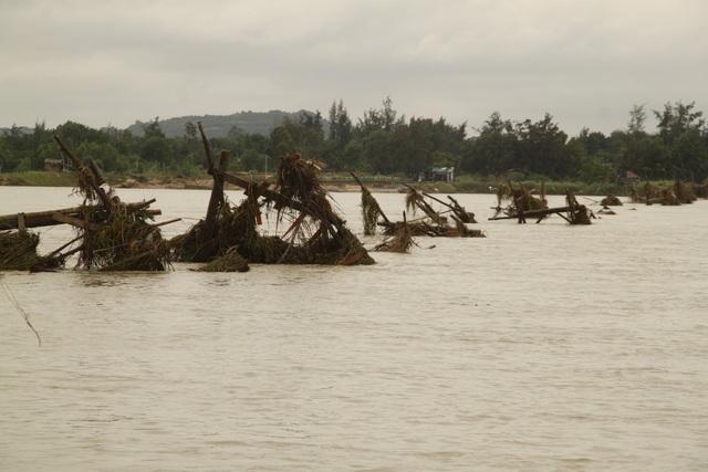 Cầu gỗ ở xã An Dân đi các xã An Ninh Đông - Tây bị lũ dữ cuốn trôi