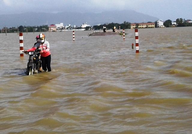 Lũ mới lại về khiến nhiều tuyến tràn trên tuyến Tỉnh lộ ĐT 640 từ trung tâm thị trấn Tuy Phước đi Gò Bồi bị ngập nặng