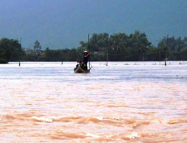 Nhiều khu vực dân cư ở phường Nhơn Phú, Nhơn Bình ... (TP Quy Nhơn) bị ngập nặng người dân phải di chuyển bằng sõng trong nước lũ