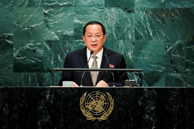 Ngoại trưởng Triều Tiên Ri Yong-ho phát biểu trước Đại Hội Đồng Liên Hợp Quốc (Ảnh: Reuters)