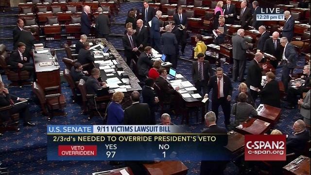 Thượng viện Mỹ bỏ phiếu hôm 28/9 về quyết định phủ quyết của Tổng thống Obama. (Ảnh: C-SPAN2)