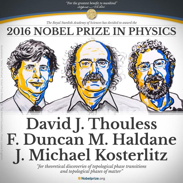 3 nhà khoa học người Anh vừa đoạt giải Nobel Vật lý 2016 (Ảnh: NobelPrize.org)