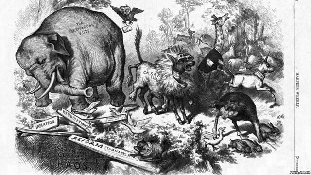 """Bức biếm họa mang tên """"Sự hoảng loạn của nhiệm kỳ thứ ba"""" của Thomas Nast (Ảnh: Rferl)"""