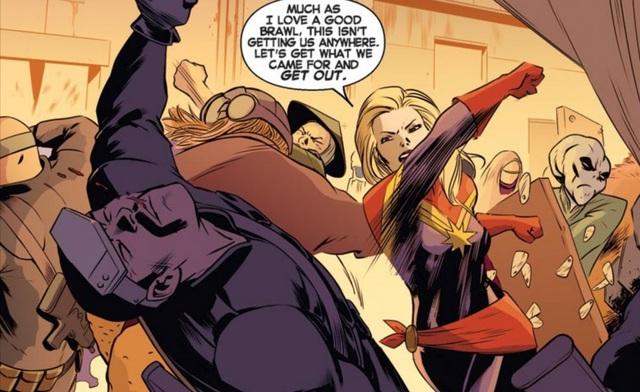 Captain Marvel tên thật là Carol Danvers, cô sở hữu tốc độ và sức mạnh siêu việt, có thể bay lượn, tung ra những cú đấm thép và tạo ra lửa từ những ngón tay. Trong thế giới truyện tranh, cô là thành viên của các biệt đội Avengers, A-Force, và X-Men.