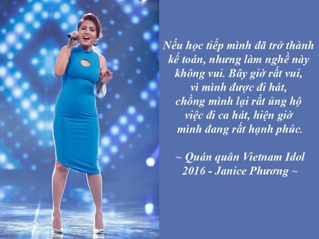 Cô gái Philippines đăng quang Quán quân Vietnam Idol 2016 là ai? - Với 54,2% tổng số phiếu bình chọn, Janice Phương – cô gái đến từ Philippines đã vượt qua Việt Thắng để giành ngôi Quán quân Vietnam Idol 2016. Đây là lần đầu tiên trong lịch sử Vietnam Idol, ngôi vị cao nhất cuộc thi thuộc về một thí sinh nước ngoài.