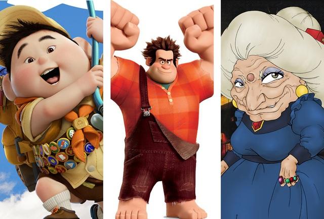 """Nhân vật phản diện thường có các nét sắc nhọn; nhân vật chính diện, đáng mến thường có các nét tròn. Cậu bé Russell đáng yêu (trái) trong bộ phim hoạt hình """"Up"""" (Vút bay - 2009) có các nét tròn; nhân vật Ralph (giữa) trong """"Wreck it Ralph"""" (Ralph đập phá - 2012) có cá tính mạnh mẽ, kiên cường đặc trưng với các nét vuông vức; nhân vật Yubaba (phải) trong """"Spirited Away"""" (Vùng đất linh hồn - 2001) là phù thủy với nhiều nét nhọn."""