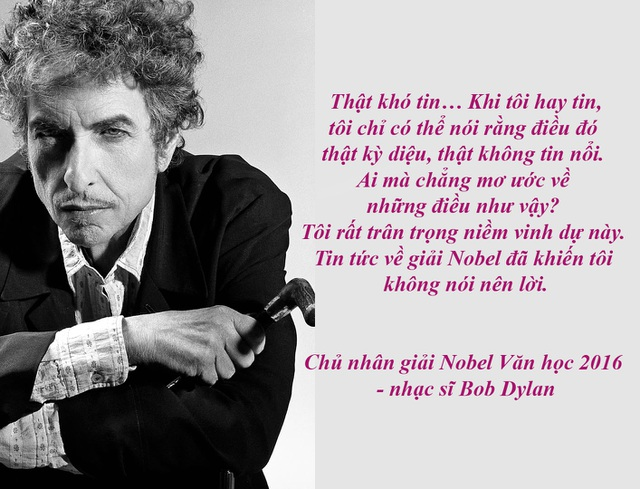 """Lần đầu tiên Bob Dylan lên tiếng về giải Nobel Văn học - Cuối cùng, sau nửa tháng im lặng trước việc mình đã là chủ nhân của giải Nobel Văn học 2016, nam ca sĩ - nhạc sĩ huyền thoại người Mỹ Bob Dylan đã lần đầu tiên """"chịu"""" lên tiếng trong một cuộc phỏng vấn."""