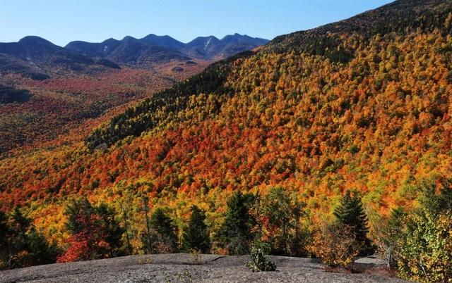 Cây cối trong vùng núi Three Brothers Mountain thay màu lá. Ảnh chụp ở công viên Adirondack, nằm trong thung lũng Keene, bang New York, Mỹ.