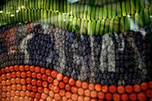 Rau củ quả bày trong tủ kính tại hội trợ triển lãm nông sản mùa thu ở Moscow, Nga.