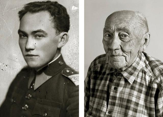 Ông Prokop Vejdělek cho biết điều khiến ông thích thú nhất trong cuộc sống cho tới thời điểm này, đó là được uống những cốc sữa dê ấm nóng. (Ảnh trái: khi ông 22 tuổi. Ảnh phải: khi ông 101 tuổi)