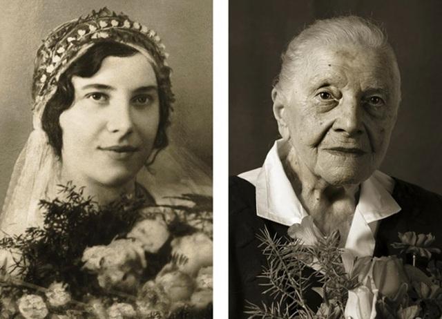 Bà Marie Burešová ước muốn có thể quay ngược thời gian để được sống lại những ngày gia đình bà còn đầy đủ mọi thành viên và vẫn còn sống đầm ấm bên nhau. (Ảnh trái: bà Marie năm 23 tuổi. Ảnh phải: năm nay bà 101 tuổi)