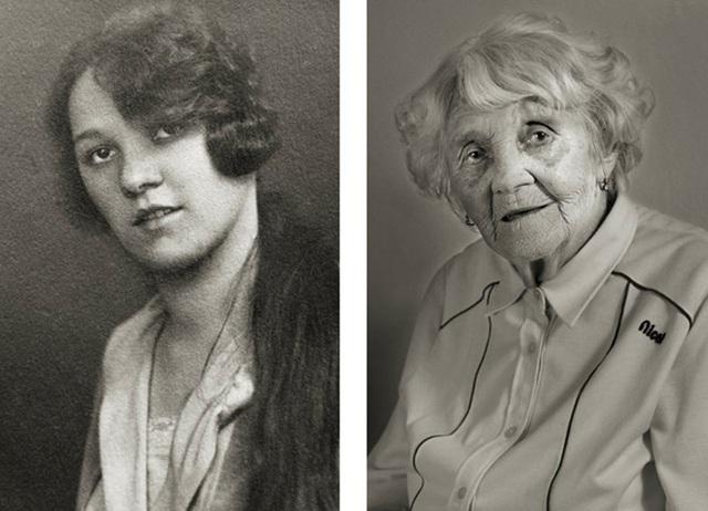 Bà Vlasta Čížková đã từng sống qua nhiều biến động thời cuộc. (Ảnh trái: năm bà 23 tuổi. Ảnh phải: năm bà 101 tuổi)