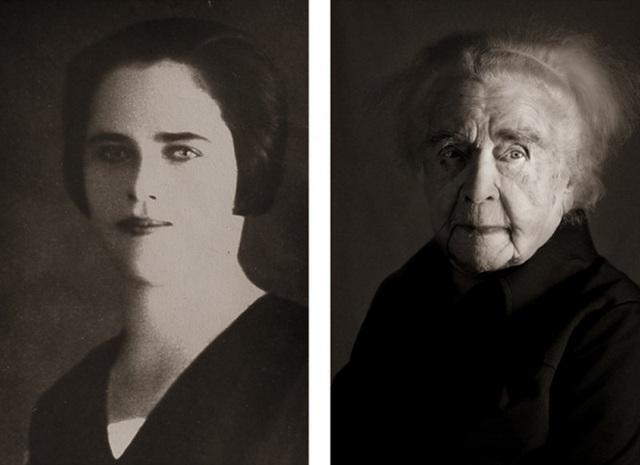 Bà Ludmila Vysloužilová vẫn sống một mình kể từ sau cái chết của chồng cách đây 60 năm. Đối với bà, ông là tình yêu duy nhất trong cuộc đời. (Ảnh trái: năm bà 23 tuổi. Ảnh phải: hiện giờ bà đã 101 tuổi)
