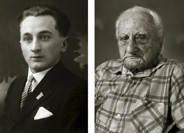 Ông Ludvík Chybík từng là một nhân viên bưu điện trong suốt nhiều thập kỷ cuộc đời. (Ảnh trái: khi ông 20 tuổi. Ảnh phải: khi ông 102 tuổi)