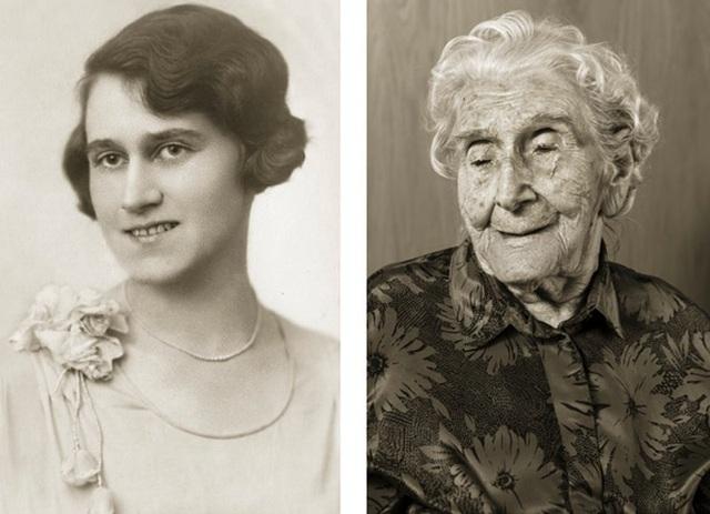 Bà Bedřiška Köhlerová ước muốn được một lần nữa quay trở lại thăm nước Ý. (Ảnh trái: bà 26 tuổi. Ảnh phải: bà giờ đã 103 tuổi)
