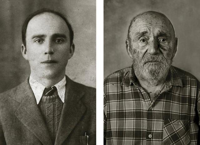 Ông Vincenc Jetelina từng là một công nhân xây dựng. (Ảnh trái: ông Vincenc năm 30 tuổi. Ảnh phải: khi ông 105 tuổi)