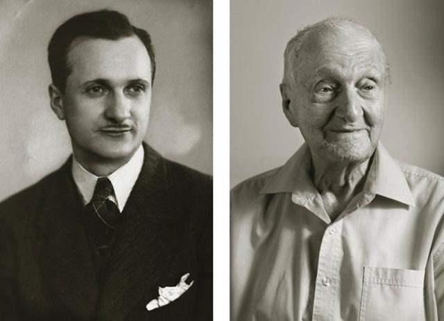 Ông Antonín Kovář ước muốn lại có cột hơi vững chãi để có thể thổi kèn clarinet trở lại. (Ảnh trái: năm ông 25 tuổi. Ảnh phải: năm ông 102 tuổi)
